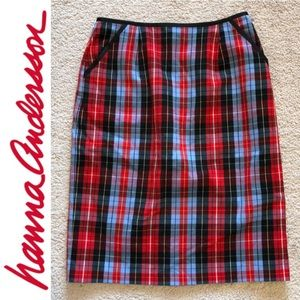 Plaid Pencil Skirt with Pockets
